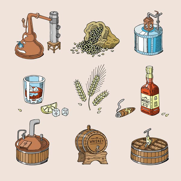 Brandy vs. Whiskey in Distillation Process and Ingredients