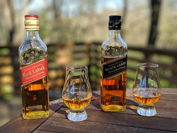 Johnnie Walker Black vs. Red Label Color